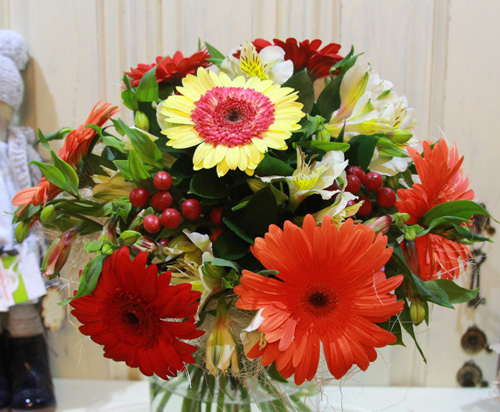 bouquet of 7 bright gerberas