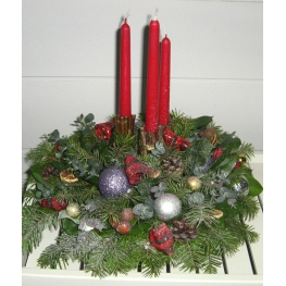 candles, silver-fir branches, blue spruce branches, decorative ornaments