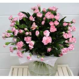 A lovely simple bouquet of pink spray carnations